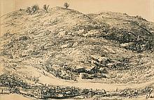 Leopold Krakauer 1890-1954 (Israeli) Landscape, 1946 charcoal on paper