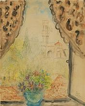 Reuven Rubin 1893-1974 (Israeli) Flowers on a windowsill overlooking Jerusalem 1940's watercolor on paper