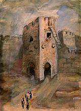 Nachum Gutman 1898-1980 (Israeli) Jaffa Gate, Jerusalem, 1926 watercolor on paper