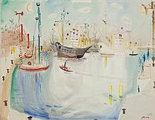 **Nachum Gutman 1898-1980 (Israeli) Haifa watercolor and pencil on paper