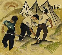 **Israel Paldi 1892-1979 (Israeli) Pioneers and tents watercolor on paper