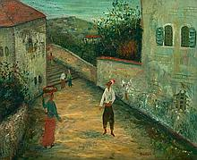 **Moshe Castel 1909-1991 (Israeli) Street scene, Safed oil on canvas