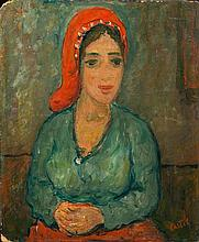 **Moshe Castel 1909-1991 (Israeli) Portrait of woman, late 1920's oil on panel