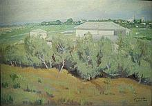 Yaacov Eisenberg 1897-1966 (Israeli) Kfar Vitkin oil on canvas mounted on board