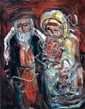 Yitzhak Frenkel Frenel 1899-1981 (Israeli) Rabbi with his wife oil on canvas