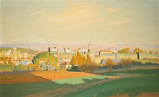 Shmuel Charuvi 1897-1965 (Israeli) View of the old city walls from King George St., Jerusalem, 1938 oil on canvas