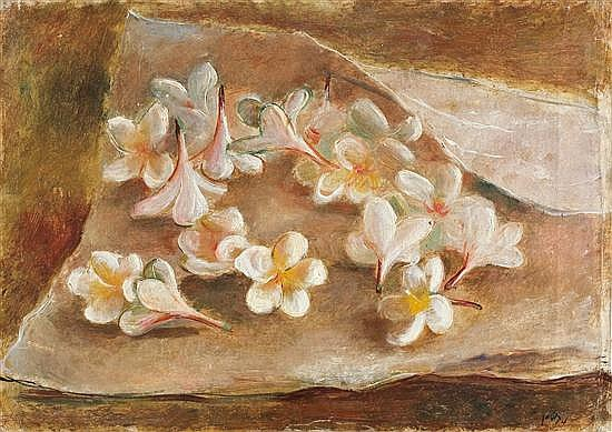 Nachum Gutman 1898-1980 (Israeli) Flowers in a white cloth, 1926 oil on canvas