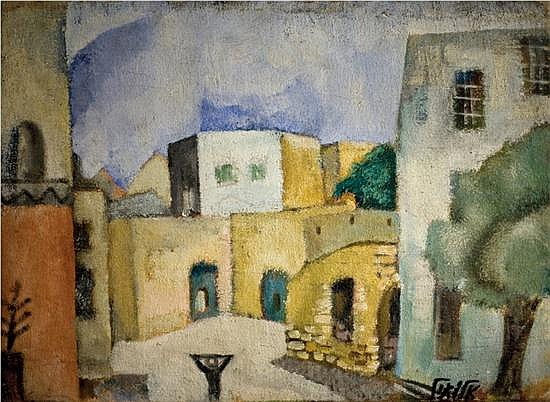 Arieh Allweil 1901-1967 (Israeli) Village landscape in the Galilee, 1920's oil on canvas