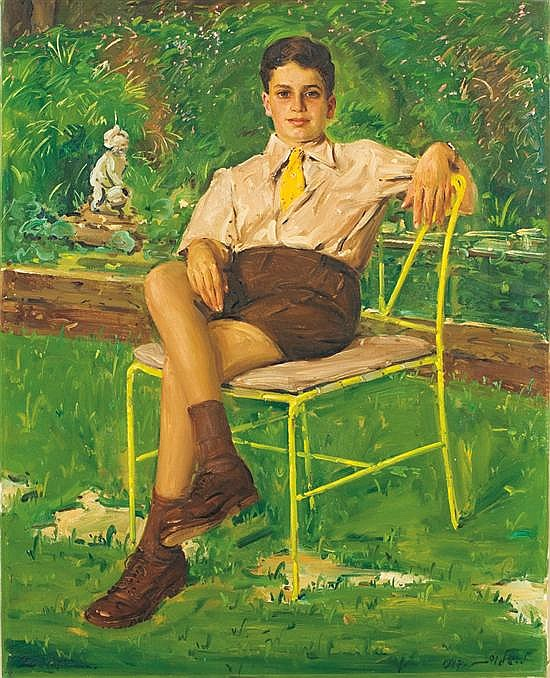 Ludwig Blum 1891-1975 (Israeli) Portrait of a seated child in a garden, 1946 oil on canvas