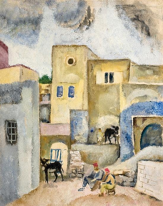 Arieh Allweil 1901-1967 (Israeli) People and donkeys in an alley oil on canvas