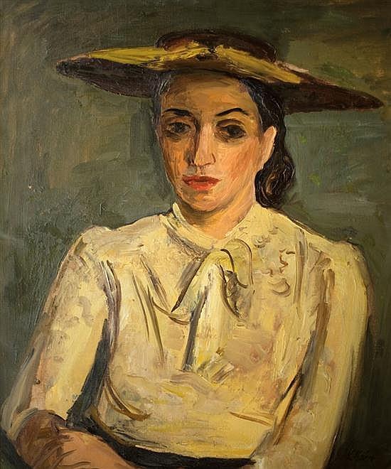 Leo Kahn 1894-1983 (Israeli) Portrait of a woman oil on canvas