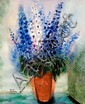 **Reuven Rubin 1893-1974 (Israeli) Delphinium, 1966 oil on canvas