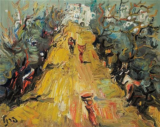 Yitzhak Frenkel Frenel 1899-1981 (Israeli) Landscape with figures oil on canvas