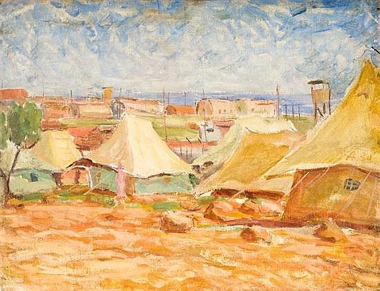 Attributed to Shmuel Ovadiahu 1892-1963 (Israeli) Military encampment oil on canvas
