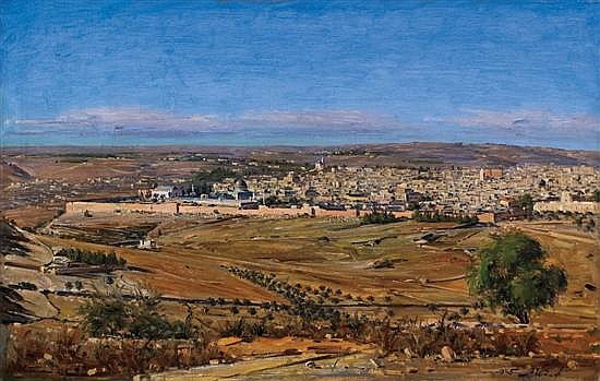 Ludwig Blum 1891-1975 (Israeli) View of Jerusalem, 1945 oil on canvas