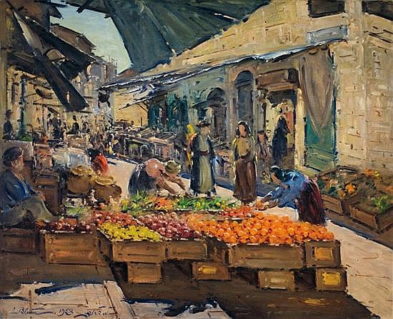 **Ludwig Blum 1891-1975 (Israeli) The market in Mea Shearim, 1958 oil on canvas