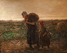 **Jozef Israels 1824-1911 (Dutch) Towards home oil on canvas