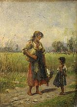 Kalman Borsodi 20th century (Italian) Gypsy family in landscape oil on panel