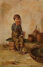 Giuseppe Constantini 1844-1894 (Italian) Boy oil on panel