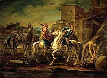 Georg Philipp Rugendas the Elder 1666-1742 (German) Riders oil on paper mounted on canvas