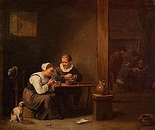 Attributed to David Teniers the Younger 1610-1690 (Flemish) Man and woman smoking a pipe oil on canvas