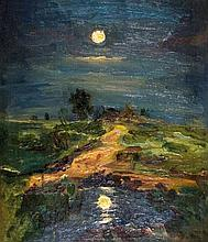 Isaak Il'ich Levitan 1860-1900 (Russian) Landscape in the moonlight oil on canvas mounted on cardboard
