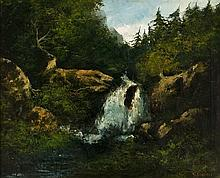 **Gustave Courbet 1819-1877 (French) Cascading waterfall, 1875 oil on canvas