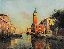 **Antoine Bouvard 1870-1956 (French) Canal a Venice oil on canvas