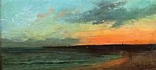 Louis August Auguin 1824-1904 (French) Sunset, 1862 oil on canvas mounted on board