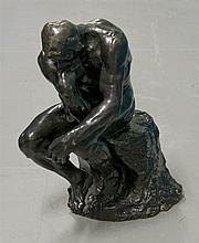 **After August Rodin 1840-1917 (French) Le penseur bronze with brown patina