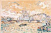 **Paul Signac 1863-1935 (French) Quai S. Austerlitz watercolor, gouache and charcoal on paper mounted on cardboard