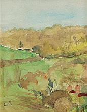 **Camille Pissarro 1830-1903 (French) Paysage du midi watercolor and pencil on paper mounted on board