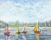 **Hughes Claude Pissarro b.1935 (French) Yachts at the port oil on canvas