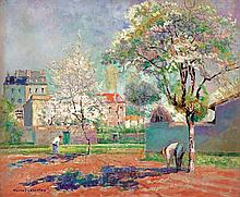 **Victor Charreton 1864-1937 (French) Under the cherry blossom oil on canvas
