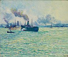 **Maximilien Luce 1858-1941 (French) Rotterdam, scene de port, 1907 oil on canvas