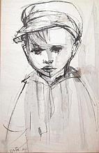 Ruth Schloss 1922-2013 (Israeli) A boy ink and watercolor on paper