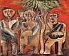 Avraham Ofek 1935-1990 (Israeli) Three figures under a tree, 1962 gouache, watercolor, ink and pencil on paper