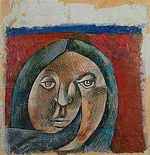 Avraham Ofek 1935-1990 (Israeli) Head of a woman oil on plaster mounted on paper