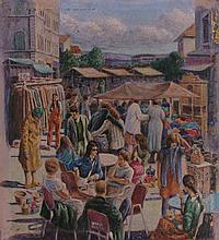 Nahum Gilboa b.1917 (Israeli) A market place mixed media on board