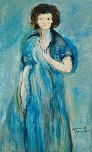 Joseph Kossonogi 1908-1981 (Israeli) Lady in blue, 1933 oil on canvas