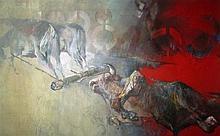Edwin Salomon b.1935 (Israeli) Bulls oil on canvas