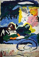 Menashe Kadishman b.1932 (Israeli) Three sheep, 1980 acrylic on paper