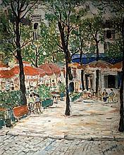 Jean Daxe 20th century Parisian street oil on cardboard