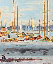 **Jean Jules Louis Cavaillès 1901-1977 (French) Le port (Saint-Tropez) oil on canvas