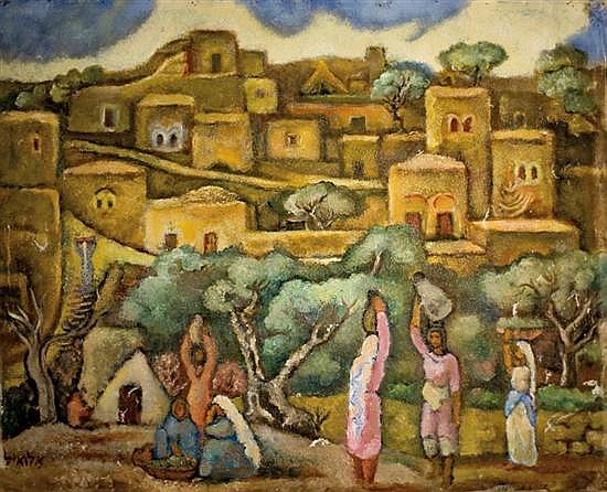 Arieh Allweil 1901-1967 (Israeli) Village in the Galilee, 1920's oil on canvas