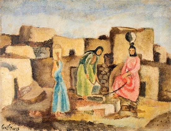 Arieh Allweil 1901-1967 (Israeli) Women by village well, 1927 oil on canvas