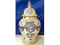 A large Chinese blue and white lidded vase