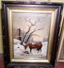 VICTORIAN FOLK ART OF HORSE WITH FALLEN RIDER