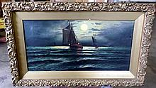 JOSEPH JOHN ENGLEHART NOCTURNAL SAILSHIP AT SEA