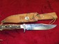 """PUMA BOWIE #6396 STAGHORN HANDLE GRIP #96922 ON HILT WITH SHEATH - OVERALL LENGTH 11"""""""